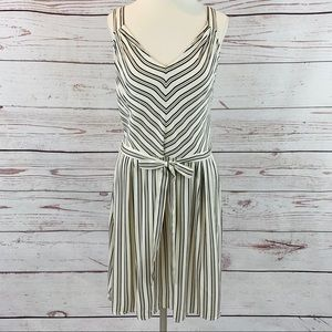 a. new. day striped v-neck pleated with belt